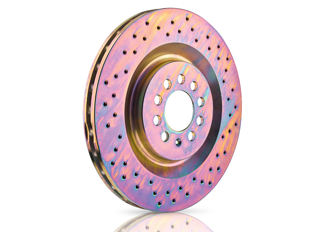 Brembo Sport disc in cast iron perforated galvanized in gold color with pillar venting